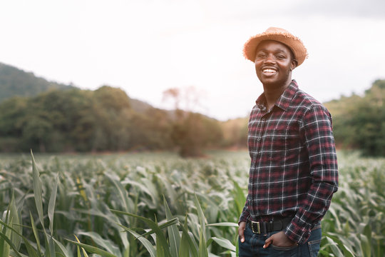 African farmer man stand at the green farm with happy and smile.