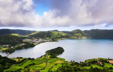 Cadres-photo bureau Cote Beautiful landscape sceneries in Azores Portugal. Tropical nature in Sao Miguel Island, Azores.