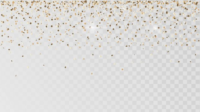 Falling golden confetti on a transparent background, celebration and festival, gold decoration, rain of coins