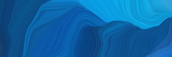 futuristic concept of curved motion speed lines with strong blue, dodger blue and midnight blue colors. good as background or backdrop wallpaper