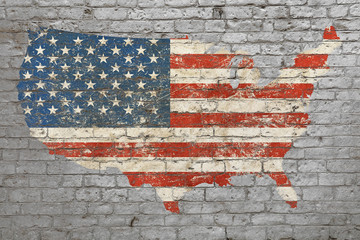 Flag map of USA painted on brick wall