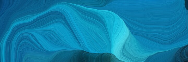 Canvas Prints Abstract wave curved speed lines background or backdrop with dark cyan, medium turquoise and very dark blue colors. good as wallpaper