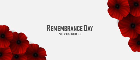 November 11, Remembrance day, A poppy flower design Billboard, Poster, Social Media template vector Illustration