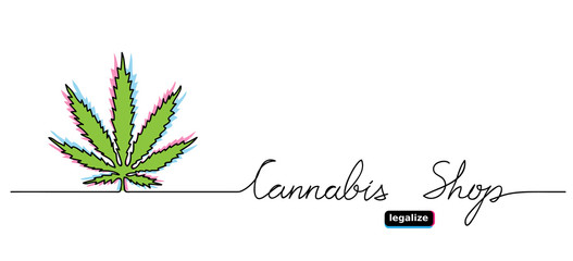 Cannabis shop banner. Legalized marijuana, hemp,weed, cannabis leaf background, poster.