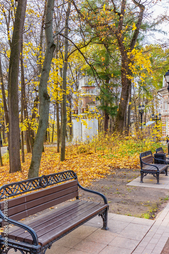 Swell Wooden Benches Against Architectural Landmark In Tsaritsyno Forskolin Free Trial Chair Design Images Forskolin Free Trialorg
