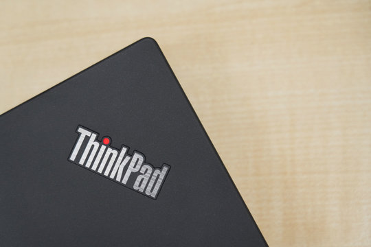 BANGKOK,THAILAND-DECEMBER: View of Thinkpad Label on a Lenovo Laptop