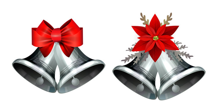 Realistic silver bell isolated on white