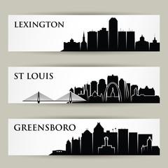 United States of America cities skylines - USA, Lexington Kentucky, St Louis Missouri, Greensboro North Carolina - isolated vector illustration