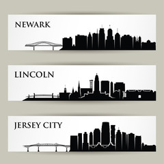 Wall Mural - United States of America cities skylines - USA, Newark New Jersey, Lincoln Nebraska, Jersey City - isolated vector illustration