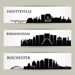 Wall Mural - United States of America cities skylines - Fayetteville, Birmingham, Rochester, North Carolina, Alabama, New York - isolated vector illustration
