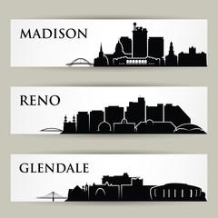 Wall Mural - United States of America cities skylines - USA - Madison, Wisconsin, Reno, Nevada, Glendale, Arizona - isolated vector illustration