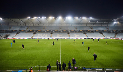 FC Lugano players in action during a training session at Malmo Stadium