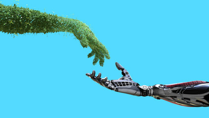 Green technology conceptual design, human arm covered with grass and lush and robotic hand on flat background, 3d render Wall mural