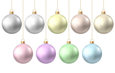 Fotomurales - Realistic  gold, silver, blue, green, pink, purple   Christmas  balls.