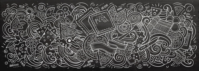 Pizza hand drawn cartoon doodles illustration. Line art vector banner