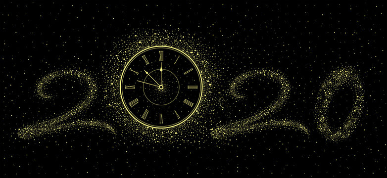 New Year gold Clock 2020. isolated on black background