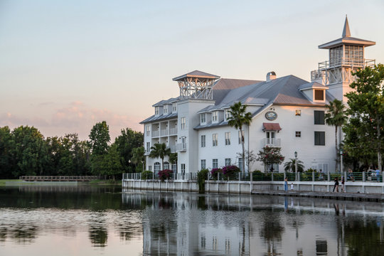 Celebration, Orlando, Florida, USA, October 22, 2019: Celebration, Luxury, Traditional Home, Utopia for Living Well, Downtown is a census-designated place and planned community in Osceola.