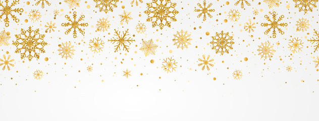 Gold snowflakes falling on white background. Golden snowflakes border with different ornaments. Luxury Christmas garland. Winter ornament for packaging, cards, invitations. Vector illustration