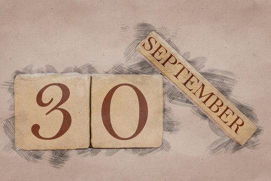 september 30th. Day 30 of month, calendar in handmade sketch style. pastel tone. autumn month, day of the year concept