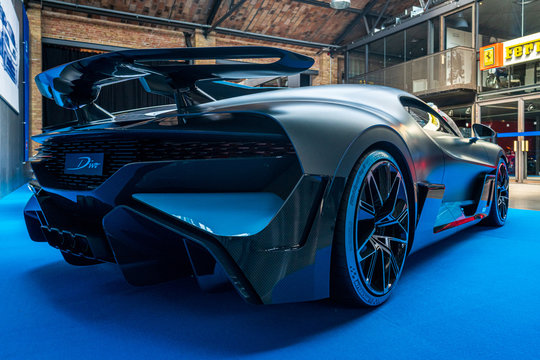 A sports car Bugatti Divo, 2018 on May 01, 2019 in Berlin, Germany. Rear view.