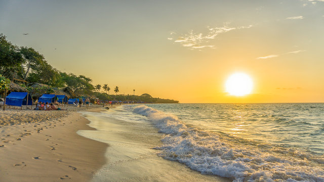 beach at sunset in baru island in cartagena colombia