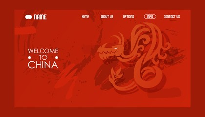 Chinese dragon website design, vector illustration. Travel agency landing page template, welcome to China. Asian sightseeing tours, traditional oriental art