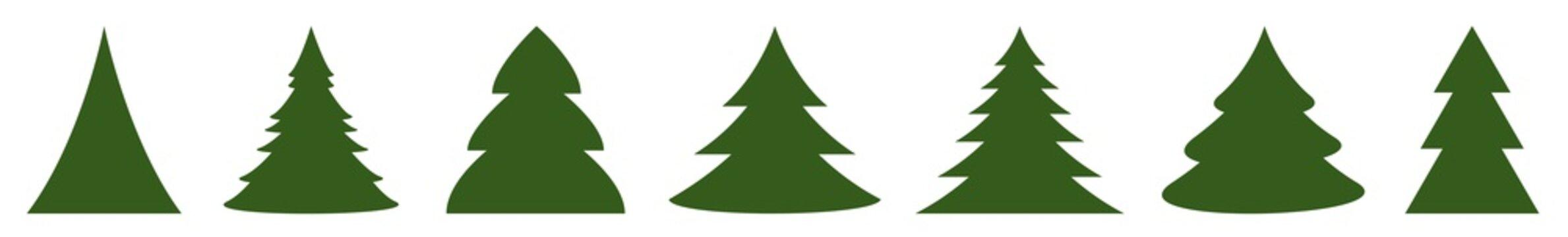 Christmas Tree Green Icon | Fir Tree Illustration | x-mas Symbol | Logo | Isolated Variations