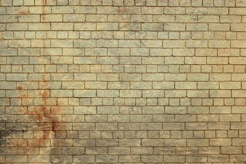 Rustic ( fired) effect painted brick wall.