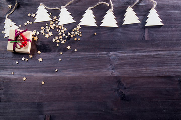 Top above high angle closeup overhead view photo of nice beautiful christmas decoration lying on the wooden dark table desk