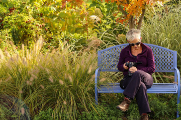 Baby boomer caucasian woman reviewing pictures from her camera while sitting on a blue bench in her garden