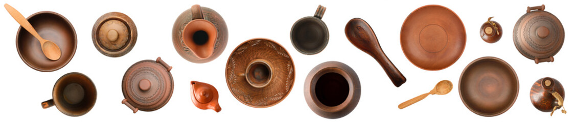 Obraz Panorama different ceramic products isolated on white. Top view. - fototapety do salonu