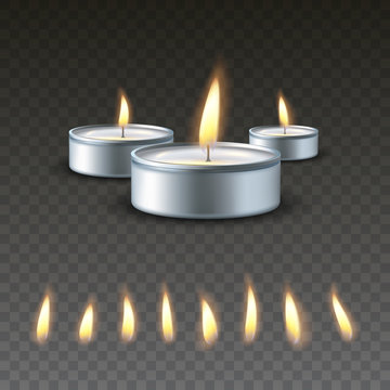 Realistic vector 3d burning tea candle on a dark background