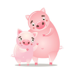 Cute pig is standing with a baby. Vector illustration isolated on white background