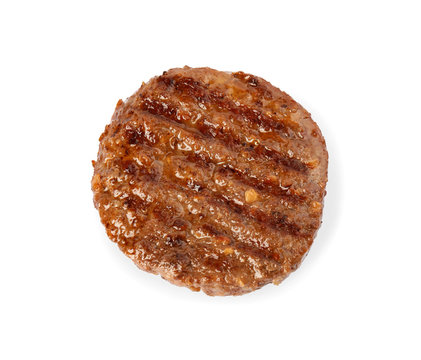 Grilled meat cutlet for burger isolated on white, top view