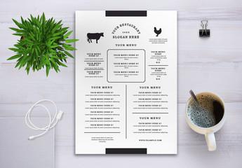 Minimalist Restaurant Menu with Illustrative Animals