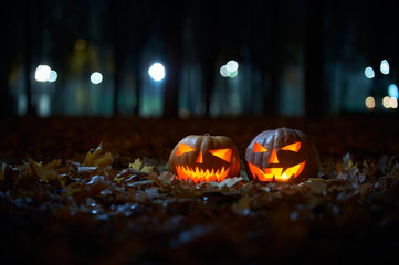 Two glowing Halloween Pumpkins in the park at night