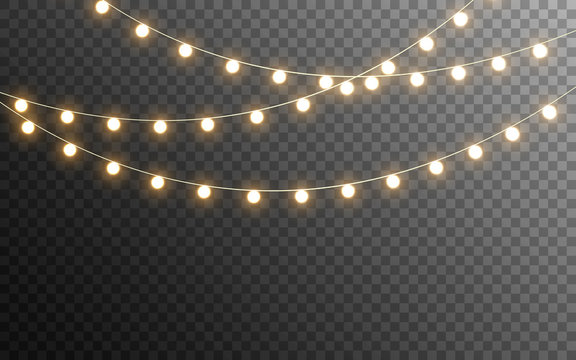 Christmas lights isolated. Glowing garlands on transparent dark background. Realistic luminous elements. Bright light bulbs for poster, card, brochure or web. Vector illustration