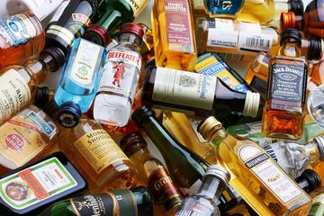 Set of bottles of assorted alcoholic beverages
