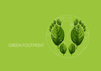 Environment protection concept with ecological footprints made of green leaves and planet Earth map
