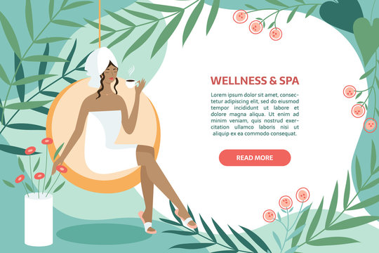 Spa, body care, wellness and health, natural beauty, summer resort banner concept. Woman sitting with tea or coffee near swimming pool and leaves on the abstract background with text area.