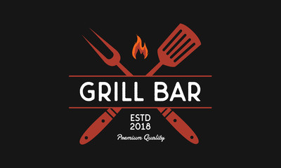 Vitnage grill bar logo. Barbecue emblem with grill fork and spatula. Vector illustration
