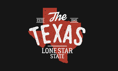 Wall Mural - Texas State logo. The Lone Star State. USA Texas vintage emblem. Texas flag map with stamp effect. Vector illustration