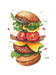 Sketch drawing of a flying burger in pieces and ingredients drawn in watercolor on paper on an isolated white background