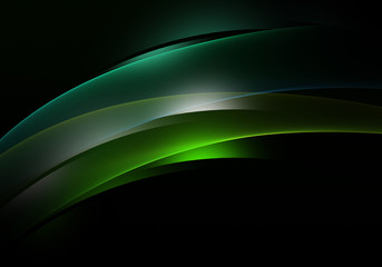 Abstract background waves. Black and green abstract background for business card or wallpaper