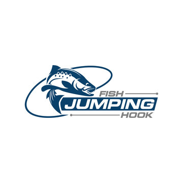 Fish Jumping Hook fishing team club logo design template vector illustration