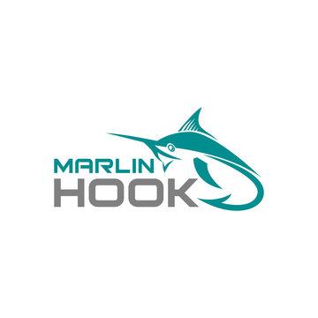 Marlin Hook Fish Jumping fishing team club logo design template vector illustration