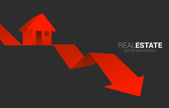 Red 3D home icon on falling down arrow. Concept of decline in real estate business and properties price