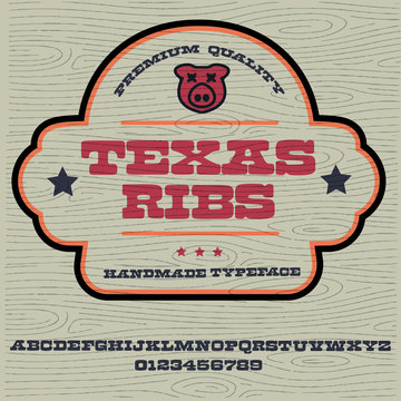 """""""Texas ribs"""" typeface. Vector hand crafted font in medieval style with pigs. Good for posters, meat label and festival invitation.Letters and numbers.Vector illustration."""
