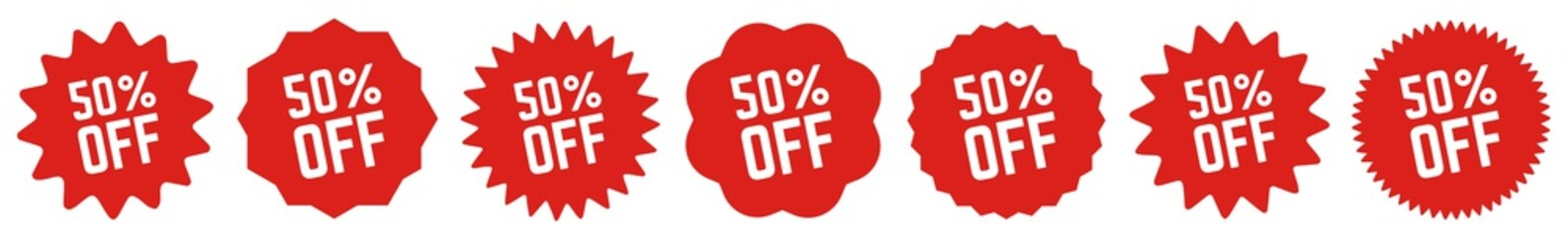 50 Percent OFF Discount Tag Red | Special Offer Icon | Sale Sticker | Deal Label | Variations