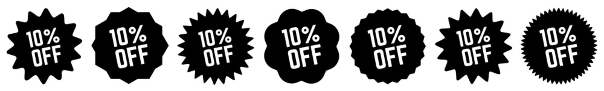 10 Percent OFF Discount Tag Black | Special Offer Icon | Sale Sticker | Deal Label | Variations
